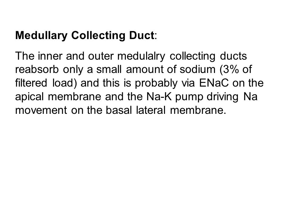 Medullary Collecting Duct: The inner and outer medulalry collecting ducts reabsorb only a small amount of sodium (3% of filtered load) and this is probably via ENaC on the apical membrane and the Na-K pump driving Na movement on the basal lateral membrane.