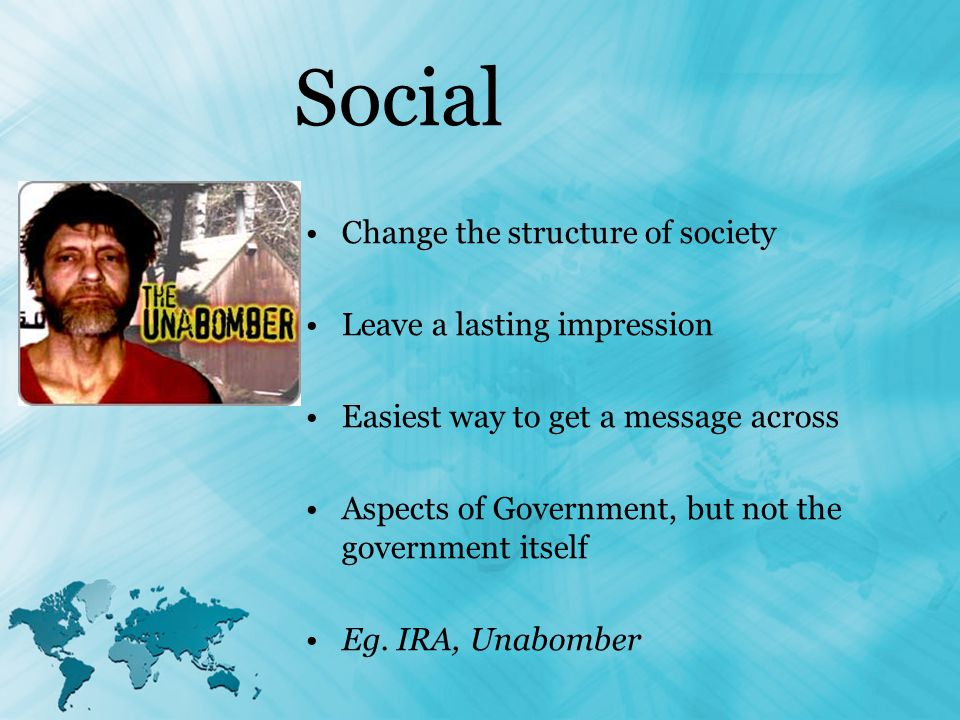 Social Change the structure of society Leave a lasting impression Easiest way to get a message across Aspects of Government, but not the government itself Eg.
