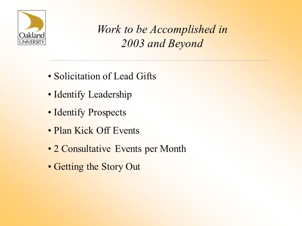 Work to be Accomplished in 2003 and Beyond Solicitation of Lead Gifts Identify Leadership Identify Prospects Plan Kick Off Events 2 Consultative Events per Month Getting the Story Out