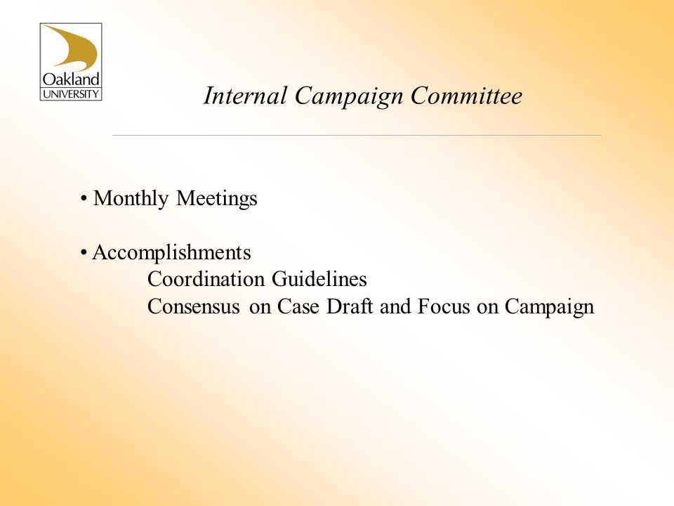 Internal Campaign Committee Monthly Meetings Accomplishments Coordination Guidelines Consensus on Case Draft and Focus on Campaign