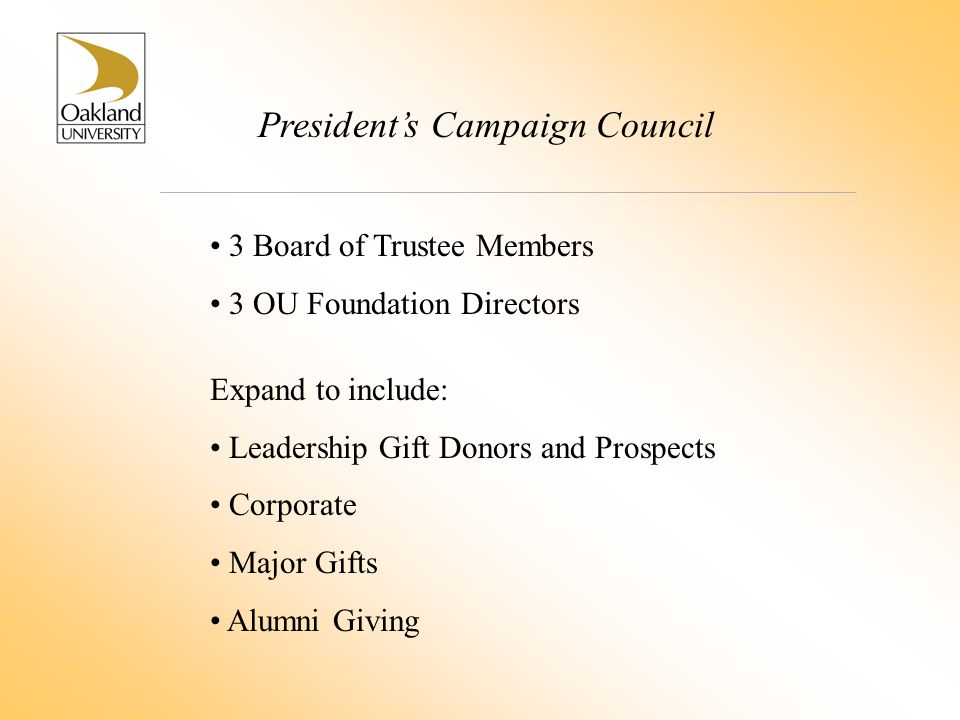 President's Campaign Council 3 Board of Trustee Members 3 OU Foundation Directors Expand to include: Leadership Gift Donors and Prospects Corporate Major Gifts Alumni Giving