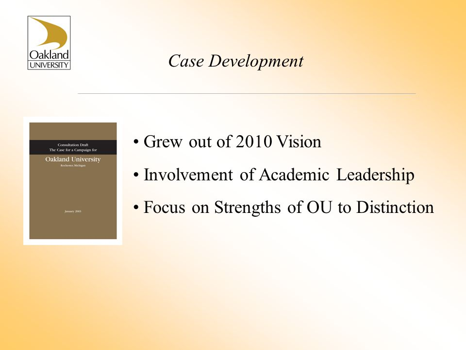 Case Development Grew out of 2010 Vision Involvement of Academic Leadership Focus on Strengths of OU to Distinction