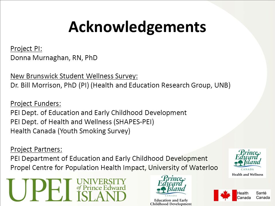 Acknowledgements Project PI: Donna Murnaghan, RN, PhD New Brunswick Student Wellness Survey: Dr. Bill Morrison, PhD (PI) (Health and Education Researc