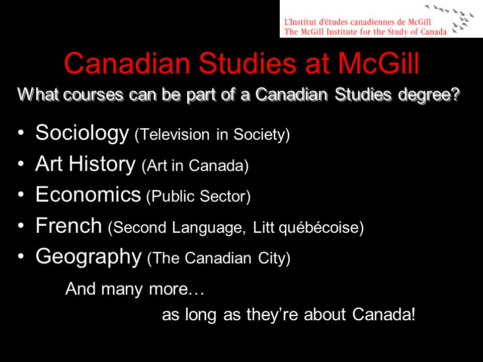 Sociology (Television in Society) Art History (Art in Canada) Economics (Public Sector) French (Second Language, Litt québécoise) Geography (The Canadian City) And many more… as long as they're about Canada.