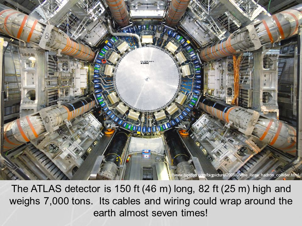 http://www.boston.com/bigpicture/2008/08/the_large_hadron_collider.html The ATLAS detector is 150 ft (46 m) long, 82 ft (25 m) high and weighs 7,000 tons.