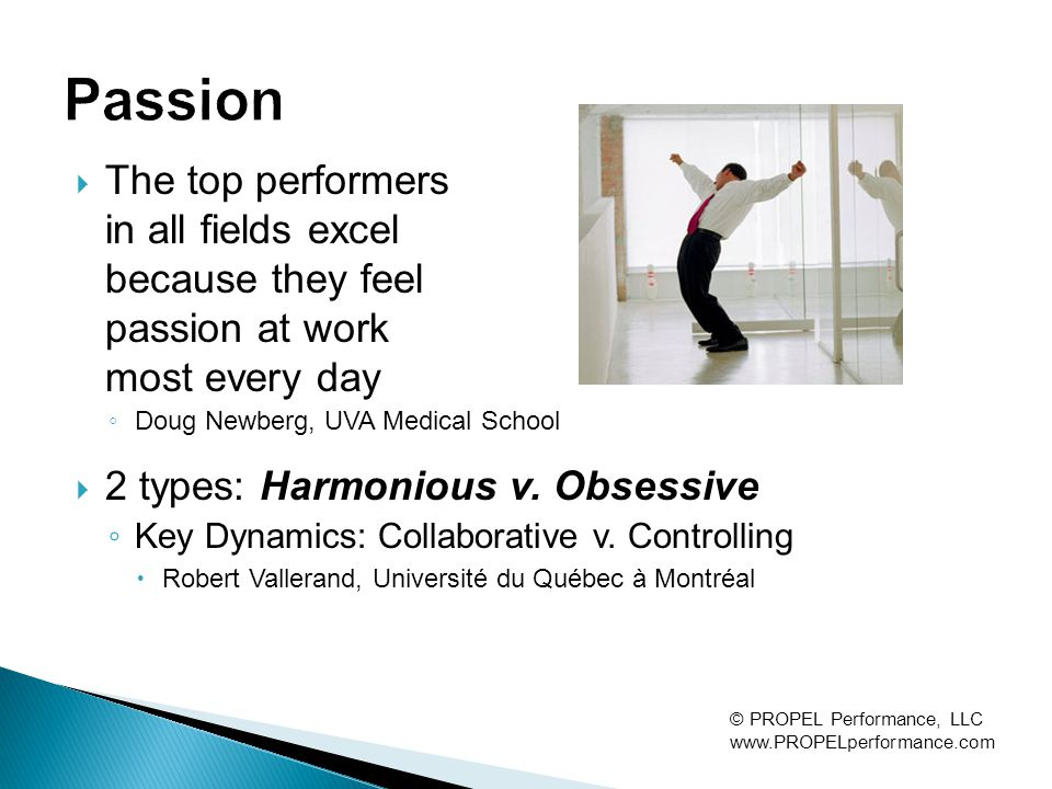 The top performers in all fields excel because they feel passion at work most every day ◦ Doug Newberg, UVA Medical School  2 types: Harmonious v.