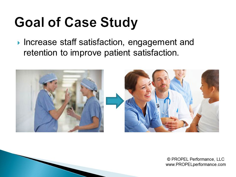 Increase staff satisfaction, engagement and retention to improve patient satisfaction.