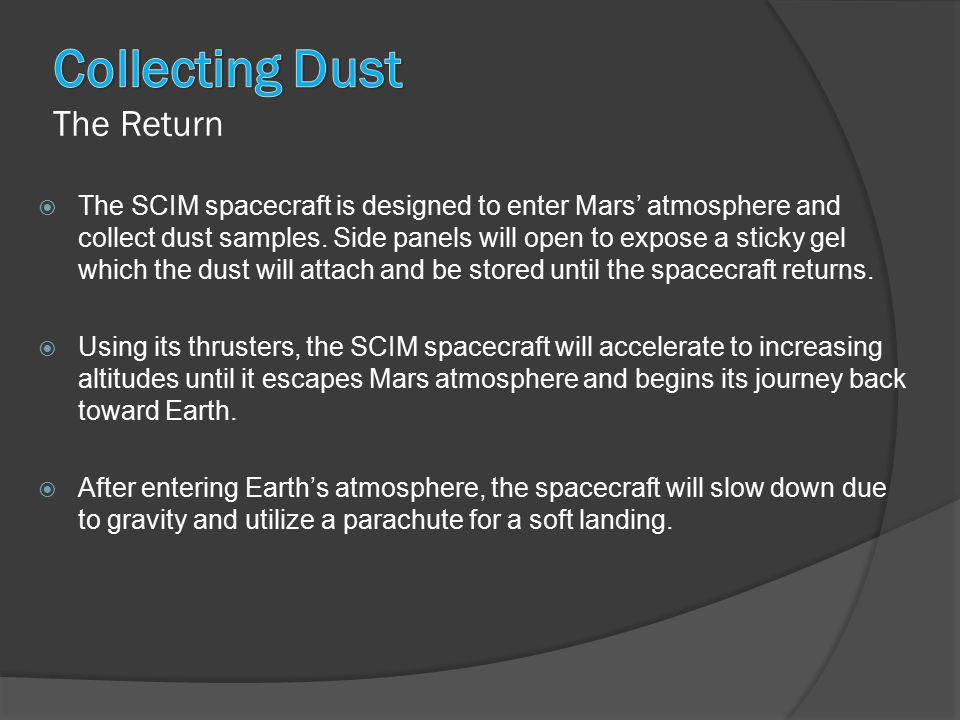  The SCIM spacecraft is designed to enter Mars' atmosphere and collect dust samples.