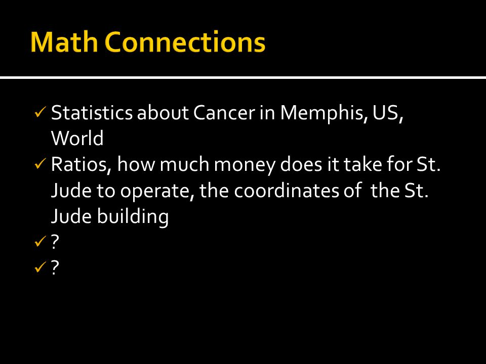 Statistics about Cancer in Memphis, US, World Ratios, how much money does it take for St. Jude to operate, the coordinates of the St. Jude building ?