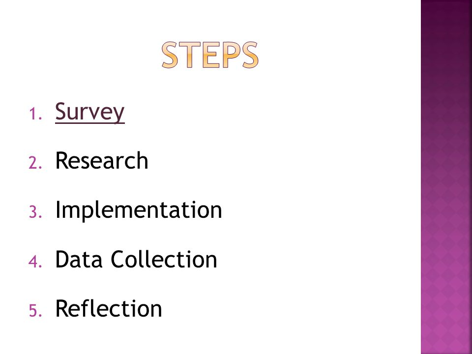 1. Survey Survey 2. Research 3. Implementation 4. Data Collection 5. Reflection