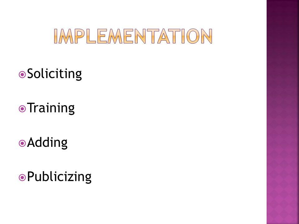  Soliciting  Training  Adding  Publicizing
