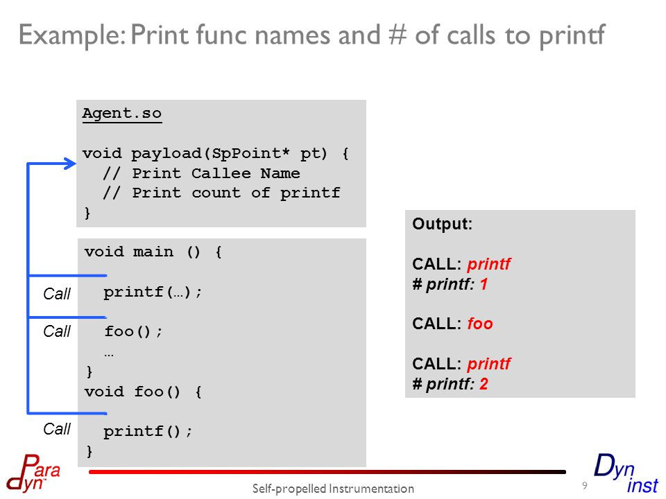 Example: Print func names and # of calls to printf Self-propelled Instrumentation void main () { printf(…); foo(); … } void foo() { printf(); } Agent.