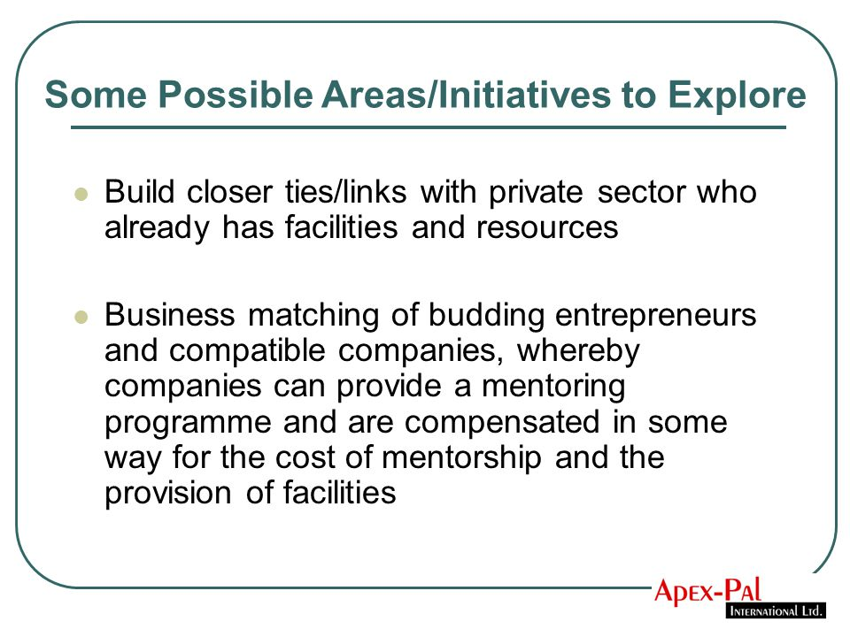 Build closer ties/links with private sector who already has facilities and resources Business matching of budding entrepreneurs and compatible companies, whereby companies can provide a mentoring programme and are compensated in some way for the cost of mentorship and the provision of facilities Some Possible Areas/Initiatives to Explore