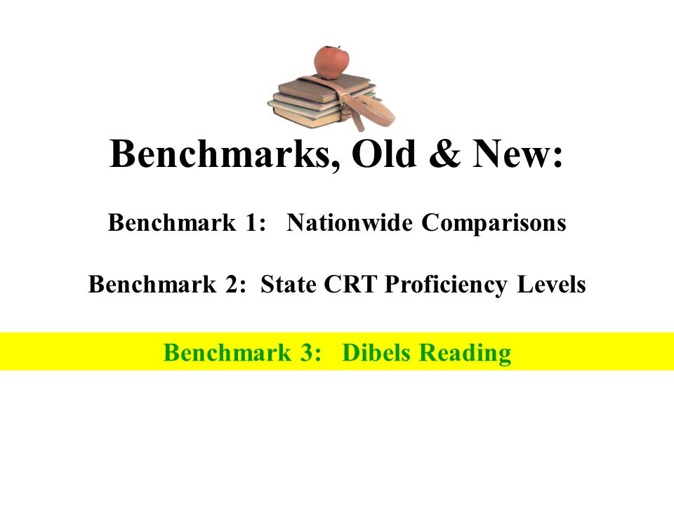 Benchmarks, Old & New: Benchmark 1: Nationwide Comparisons Benchmark 2: State CRT Proficiency Levels Benchmark 3: Dibels Reading
