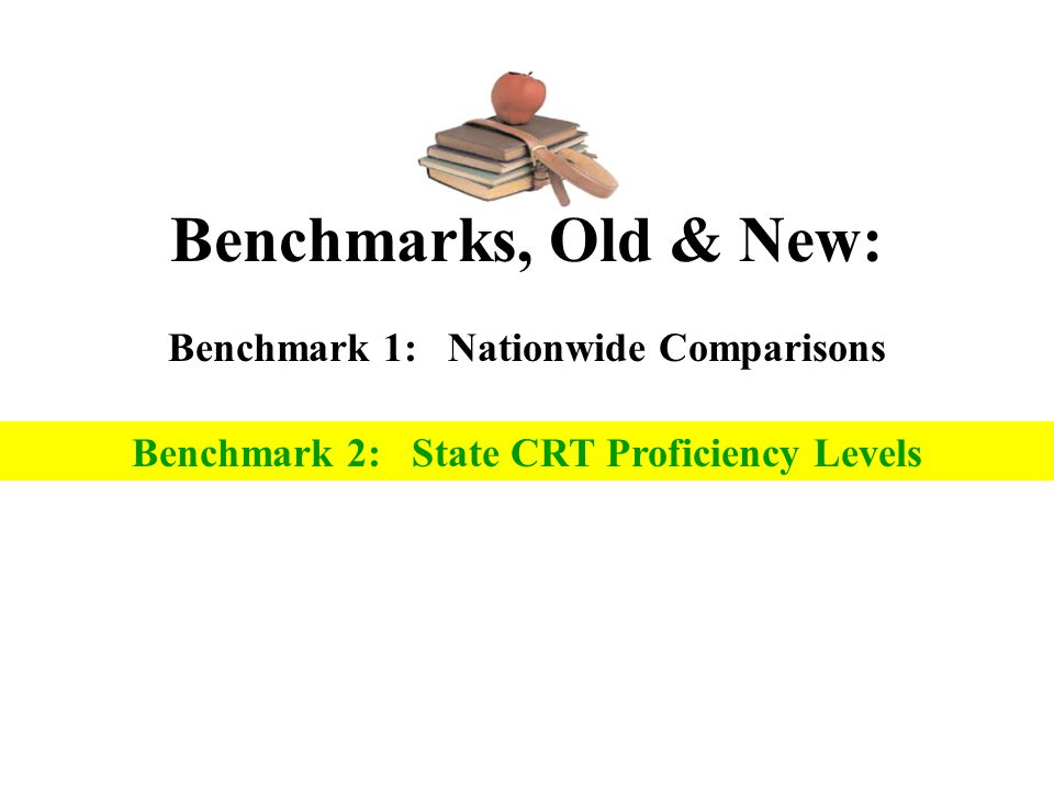 Benchmarks, Old & New: Benchmark 1: Nationwide Comparisons Section 2: Direct Writing Assessments (DWA) Benchmark 2: State CRT Proficiency Levels