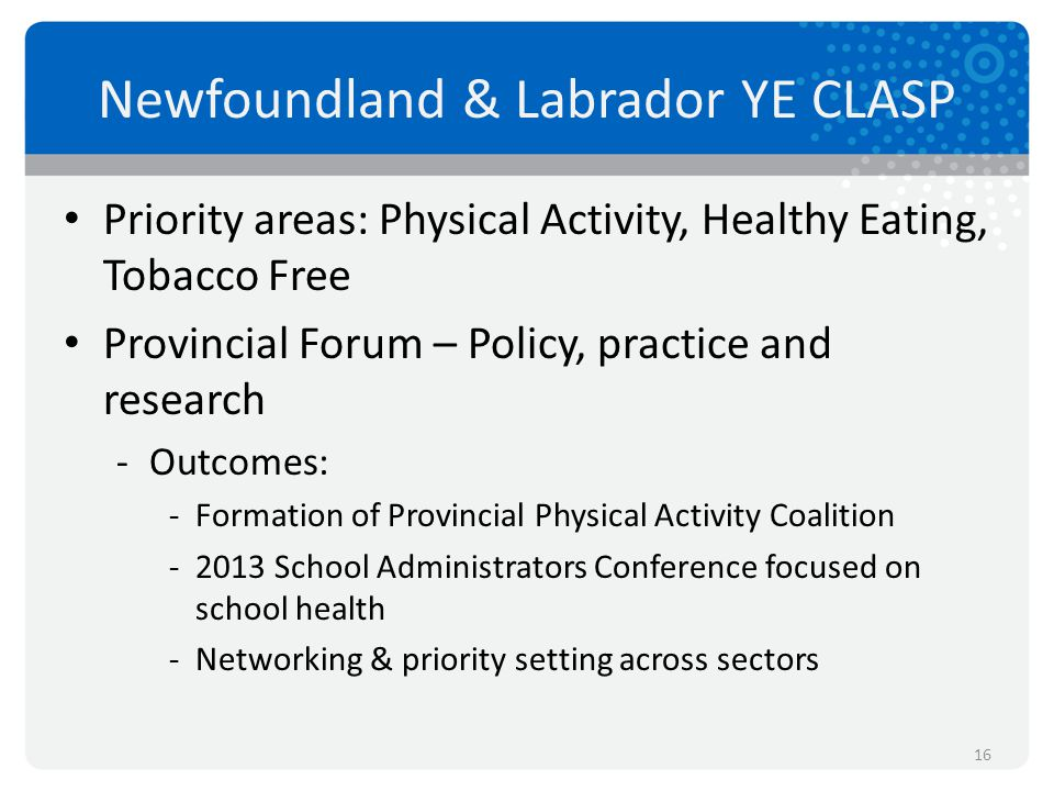 Newfoundland & Labrador YE CLASP Priority areas: Physical Activity, Healthy Eating, Tobacco Free Provincial Forum – Policy, practice and research -Out
