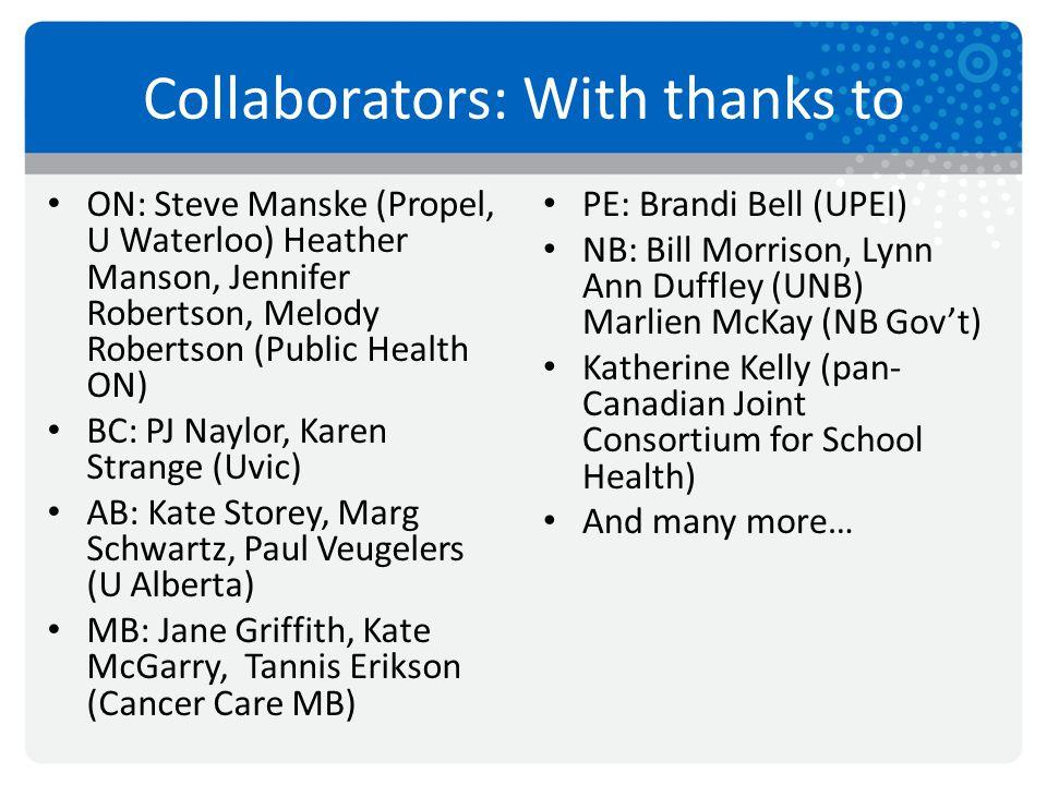 Collaborators: With thanks to ON: Steve Manske (Propel, U Waterloo) Heather Manson, Jennifer Robertson, Melody Robertson (Public Health ON) BC: PJ Nay