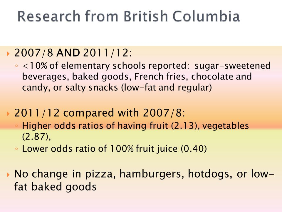  2007/8 AND 2011/12: ◦ <10% of elementary schools reported: sugar-sweetened beverages, baked goods, French fries, chocolate and candy, or salty snack