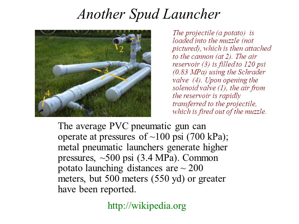 The average PVC pneumatic gun can operate at pressures of ~100 psi (700 kPa); metal pneumatic launchers generate higher pressures, ~500 psi (3.4 MPa).