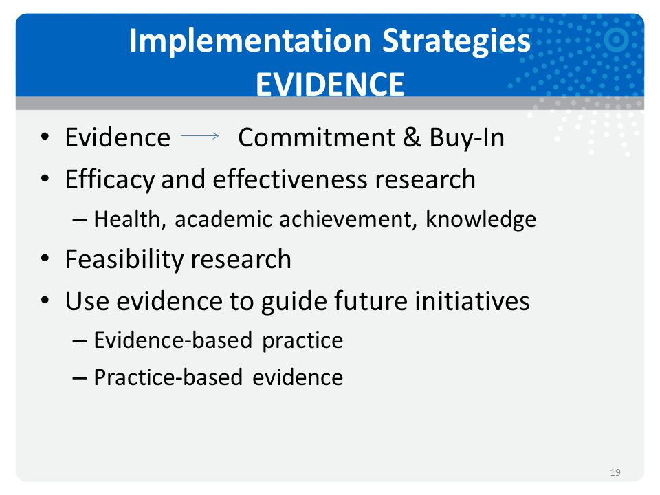 Implementation Strategies EVIDENCE EvidenceCommitment & Buy-In Efficacy and effectiveness research – Health, academic achievement, knowledge Feasibility research Use evidence to guide future initiatives – Evidence-based practice – Practice-based evidence 19