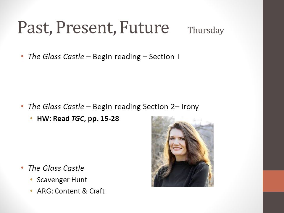 Past, Present, Future Thursday The Glass Castle – Begin reading – Section I The Glass Castle – Begin reading Section 2– Irony HW: Read TGC, pp. 15-28