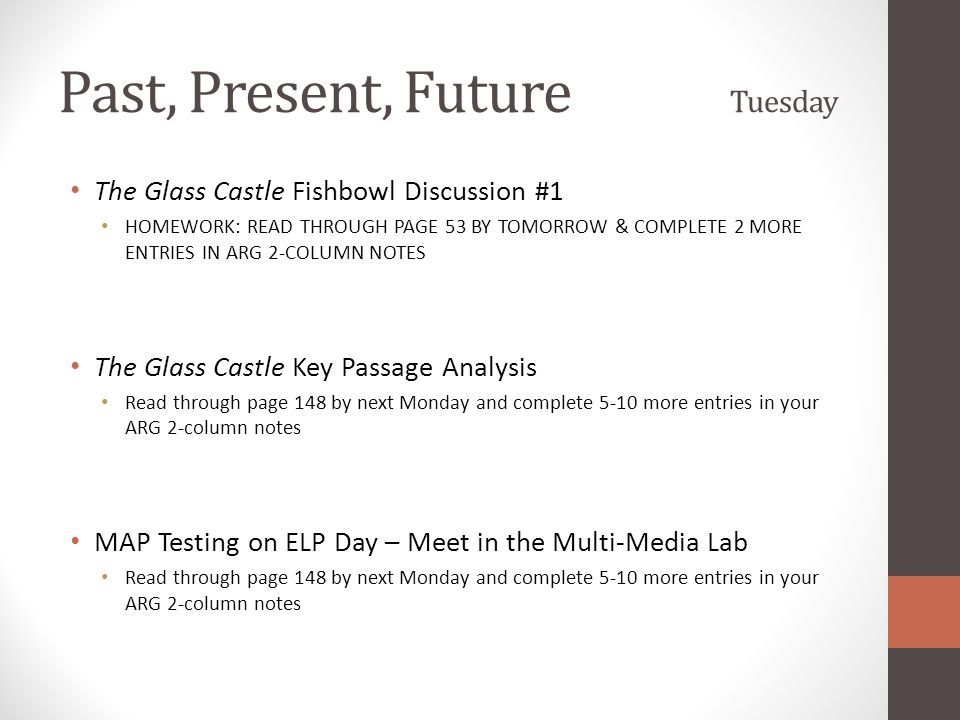 Past, Present, Future Tuesday The Glass Castle Fishbowl Discussion #1 HOMEWORK: READ THROUGH PAGE 53 BY TOMORROW & COMPLETE 2 MORE ENTRIES IN ARG 2-CO