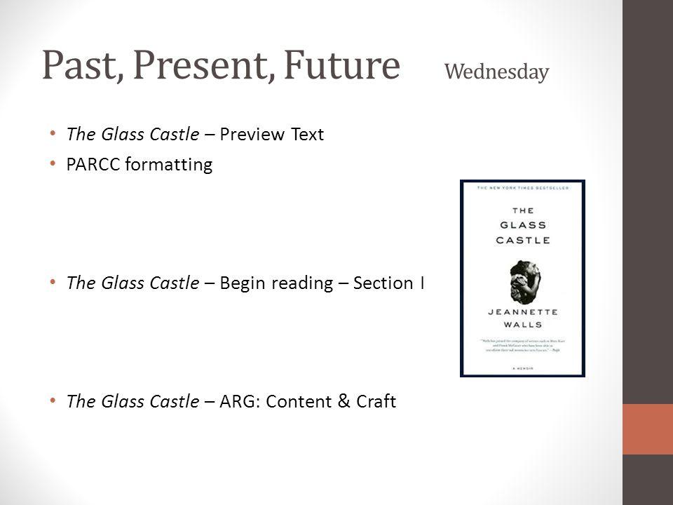 Past, Present, Future Wednesday The Glass Castle – Preview Text PARCC formatting The Glass Castle – Begin reading – Section I The Glass Castle – ARG: