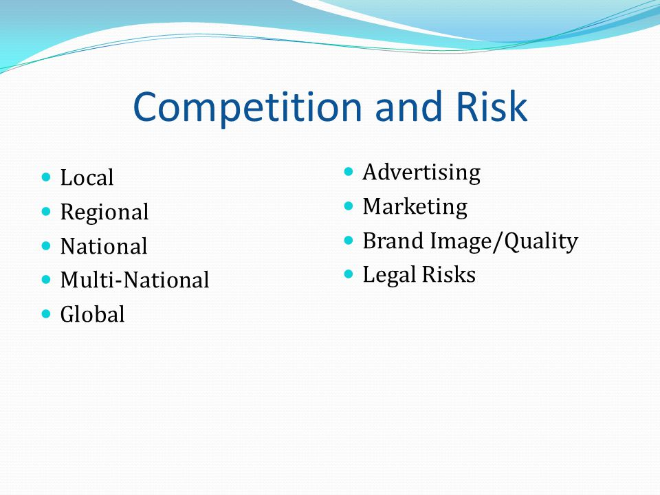 Competition and Risk Local Regional National Multi-National Global Advertising Marketing Brand Image/Quality Legal Risks