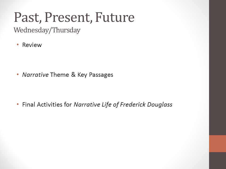 Past, Present, Future Wednesday/Thursday Review Narrative Theme & Key Passages Final Activities for Narrative Life of Frederick Douglass