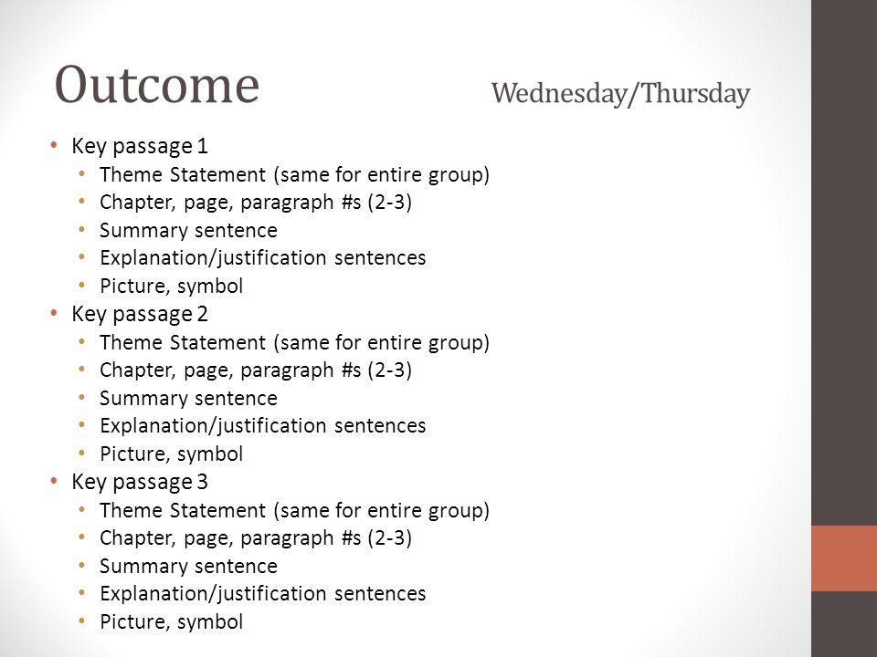 Outcome Wednesday/Thursday Key passage 1 Theme Statement (same for entire group) Chapter, page, paragraph #s (2-3) Summary sentence Explanation/justif