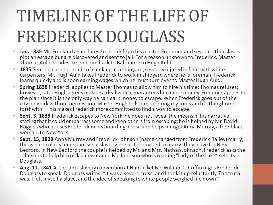 TIMELINE OF THE LIFE OF FREDERICK DOUGLASS Jan. 1835 Mr. Freeland again hires Frederick from his master. Frederick and several other slaves plot an es