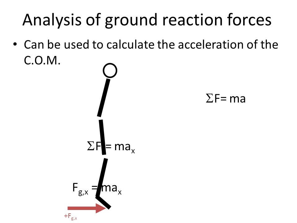 Analysis of ground reaction forces Can be used to calculate the acceleration of the C.O.M.  F= ma  F x = ma x F g,x = ma x +F g,x