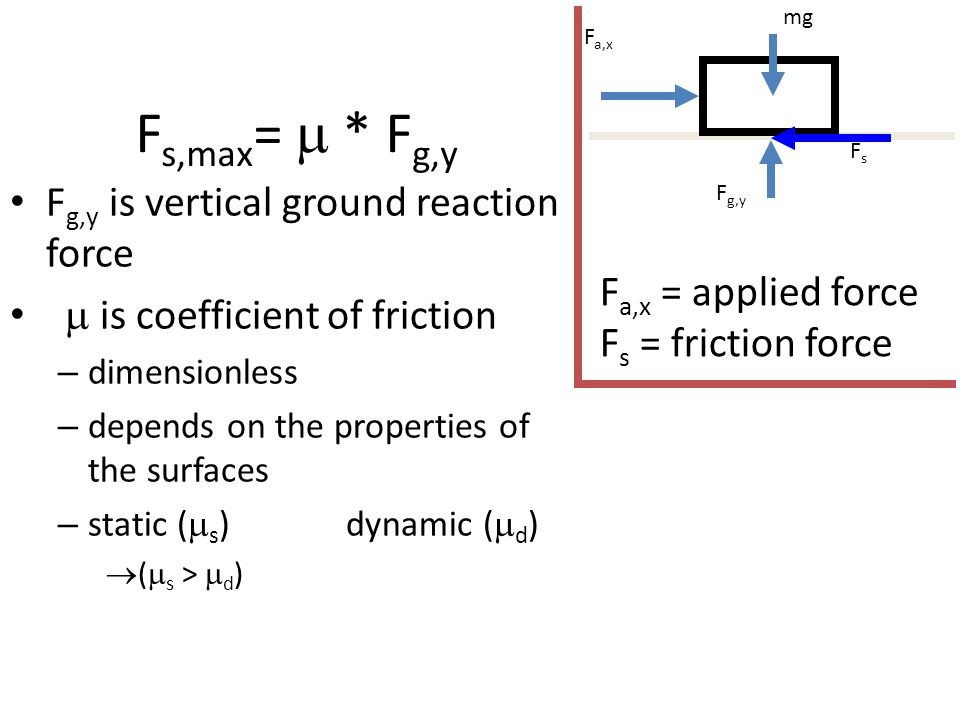 F s,max =  * F g,y F g,y is vertical ground reaction force  is coefficient of friction – dimensionless – depends on the properties of the surfaces –
