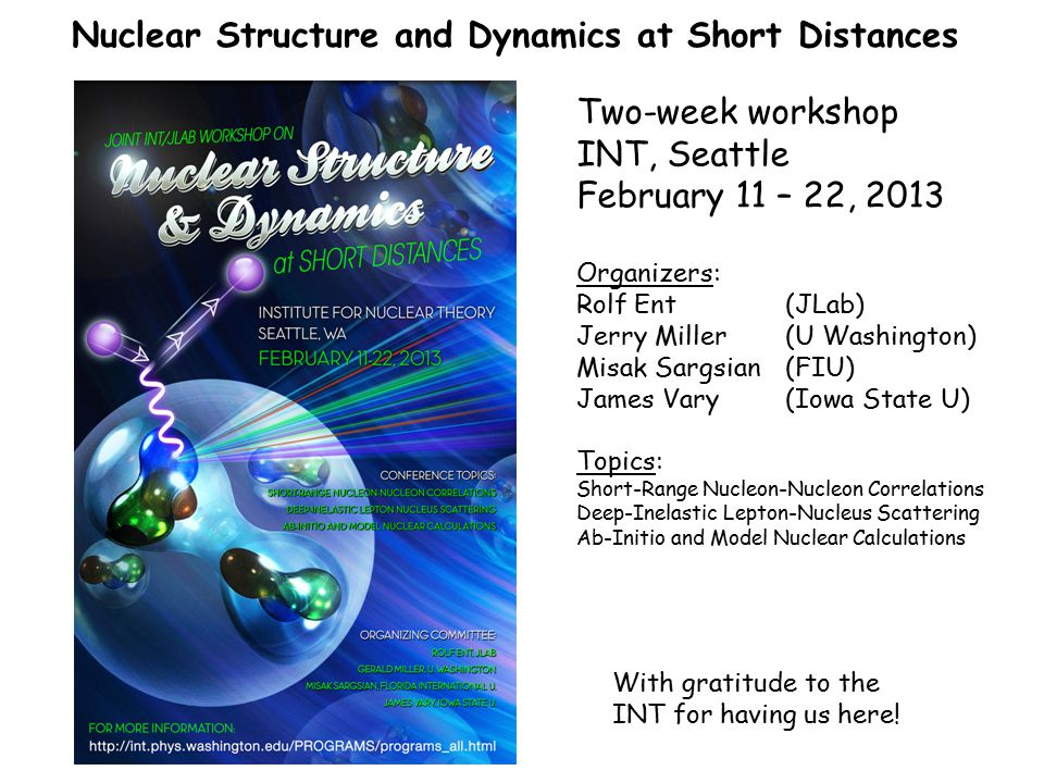Nuclear Structure and Dynamics at Short Distances Experimental background: There has been significant progress in observing the effects of two- nucleon correlations, in studying quasi-elastic scattering off nuclei at large values of Bjorken x, and in detailing the nuclear dependence of deep-inelastic scattering.
