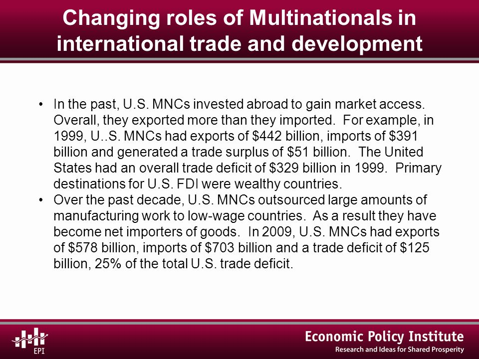 Changing roles of Multinationals in international trade and development In the past, U.S.