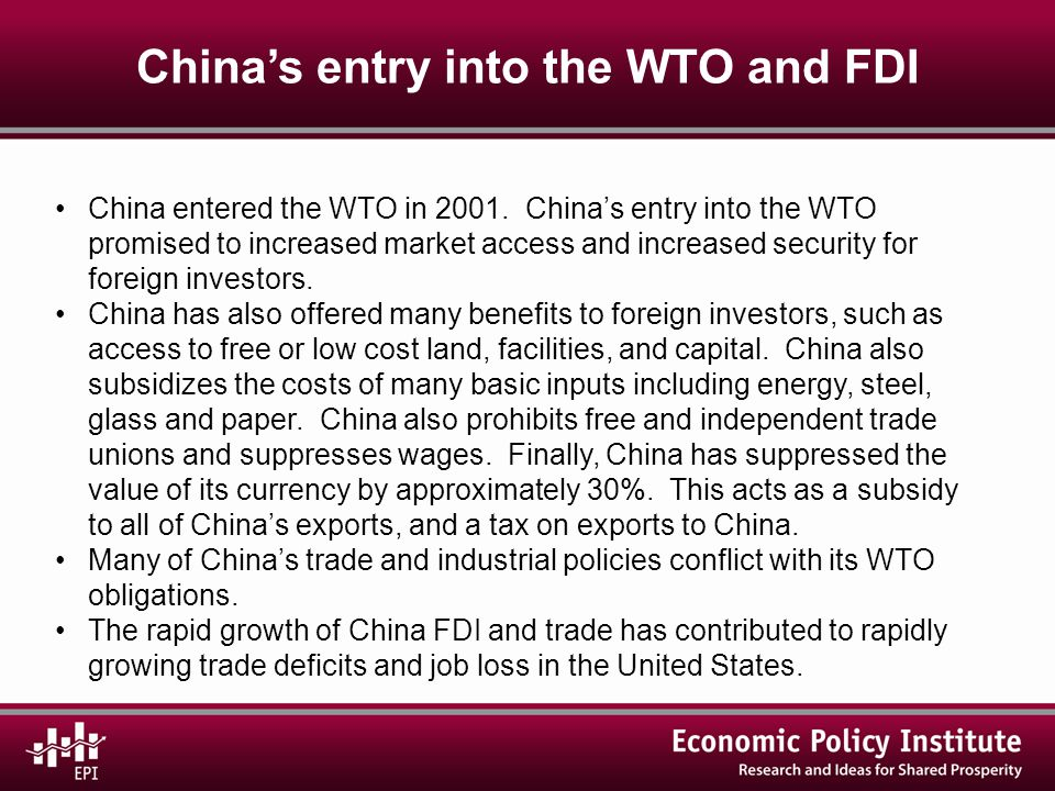 U.S.– China trade and job loss The U.S.