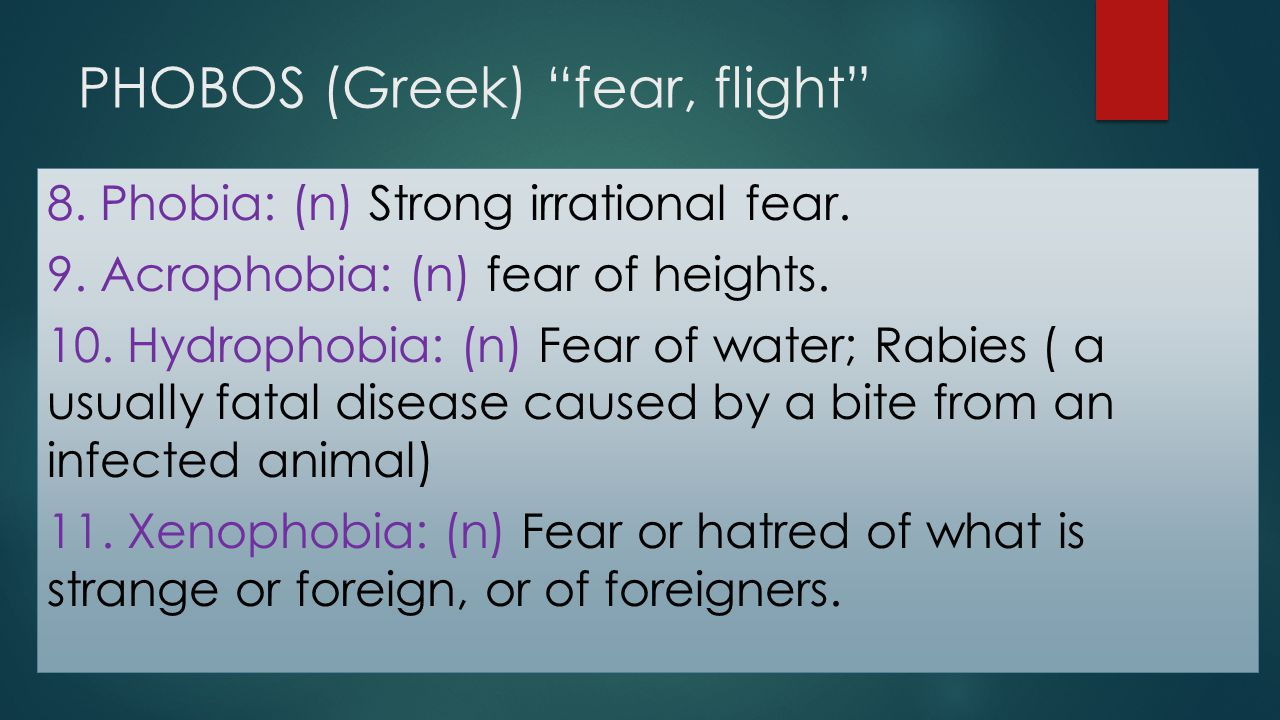 "PHOBOS (Greek) ""fear, flight"" 8. Phobia: (n) Strong irrational fear. 9. Acrophobia: (n) fear of heights. 10. Hydrophobia: (n) Fear of water; Rabies ("