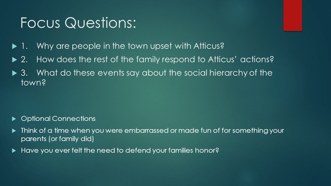 Focus Questions:  1.Why are people in the town upset with Atticus?  2.How does the rest of the family respond to Atticus' actions?  3.What do these