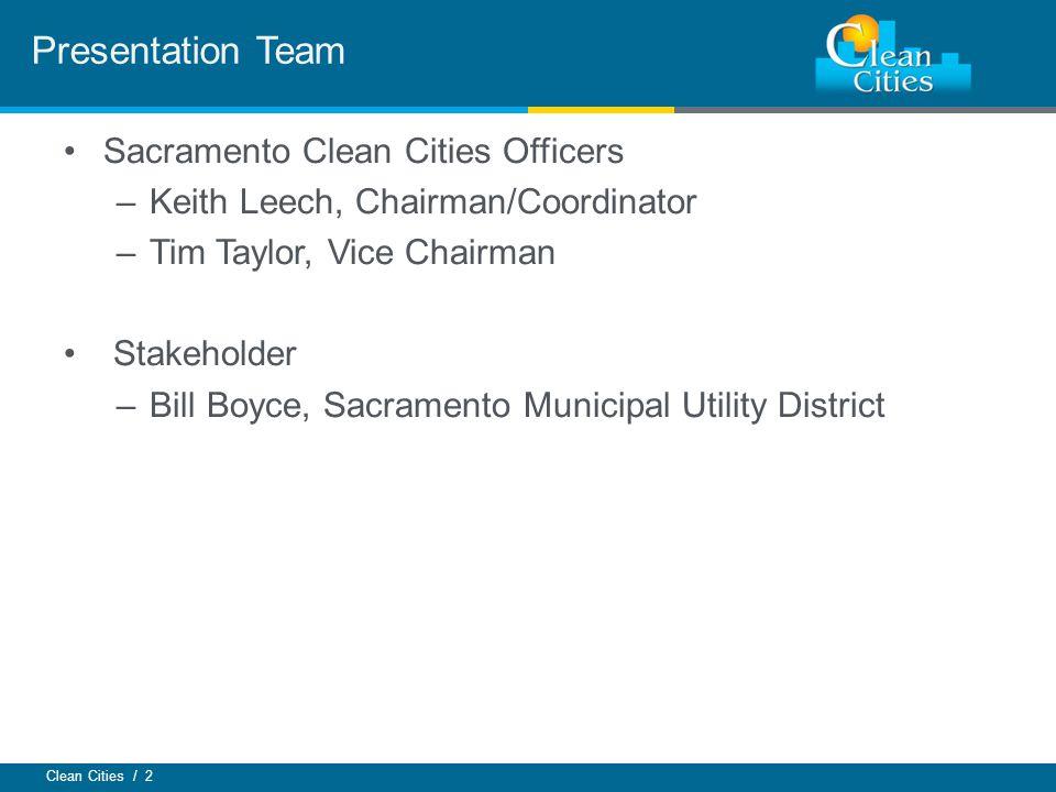 Clean Cities / 2 Sacramento Clean Cities Officers –Keith Leech, Chairman/Coordinator –Tim Taylor, Vice Chairman Stakeholder –Bill Boyce, Sacramento Mu