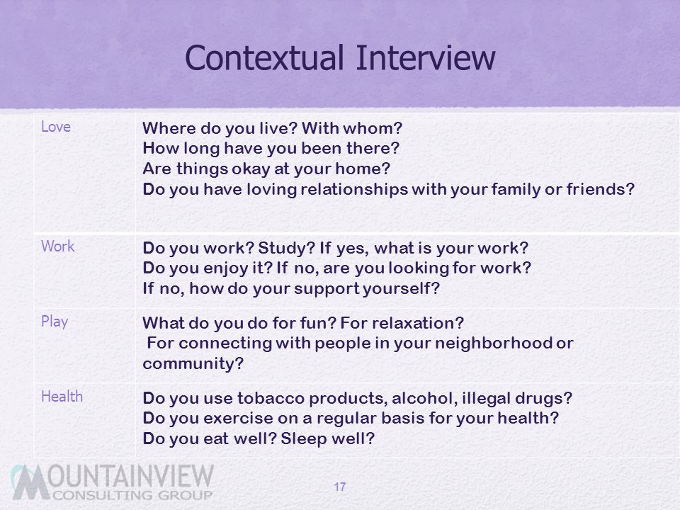Contextual Interview Love Where do you live? With whom? How long have you been there? Are things okay at your home? Do you have loving relationships w
