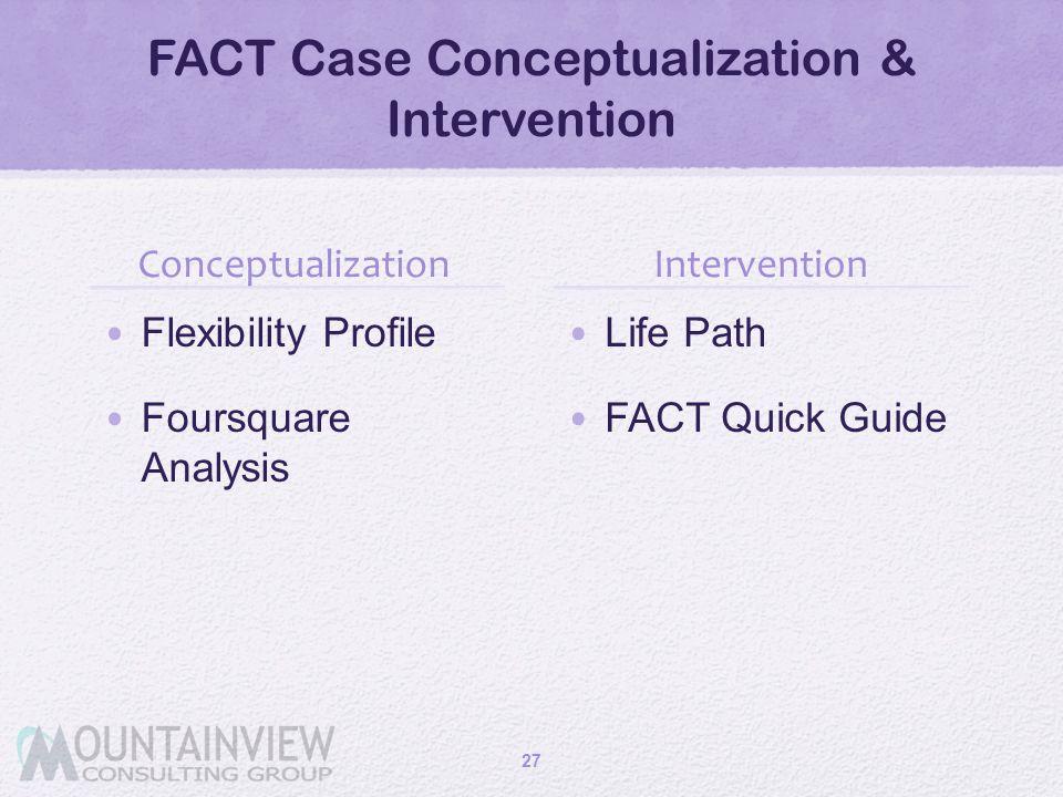 FACT Case Conceptualization & Intervention Conceptualization Flexibility Profile Foursquare Analysis Intervention Life Path FACT Quick Guide 27