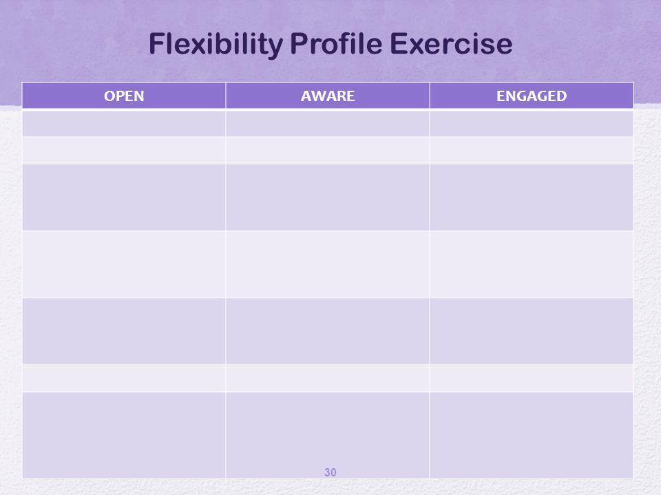 Flexibility Profile Exercise OPENAWAREENGAGED 30