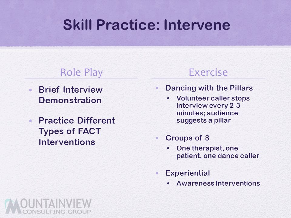 Skill Practice: Intervene Role Play Brief Interview Demonstration Practice Different Types of FACT Interventions Exercise Dancing with the Pillars Vol