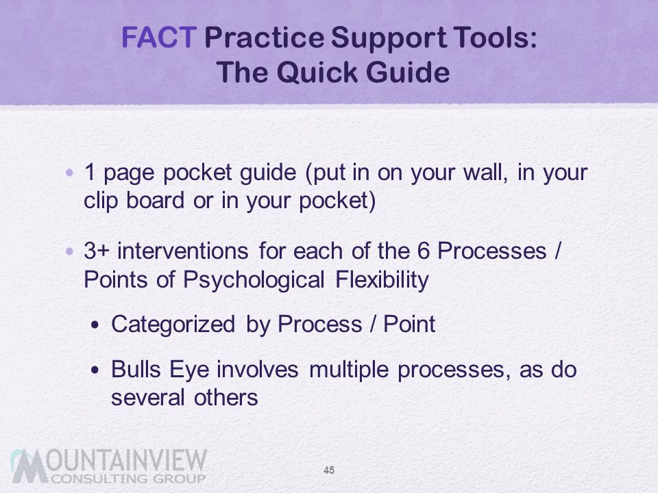 FACT Practice Support Tools: The Quick Guide 1 page pocket guide (put in on your wall, in your clip board or in your pocket) 3+ interventions for each