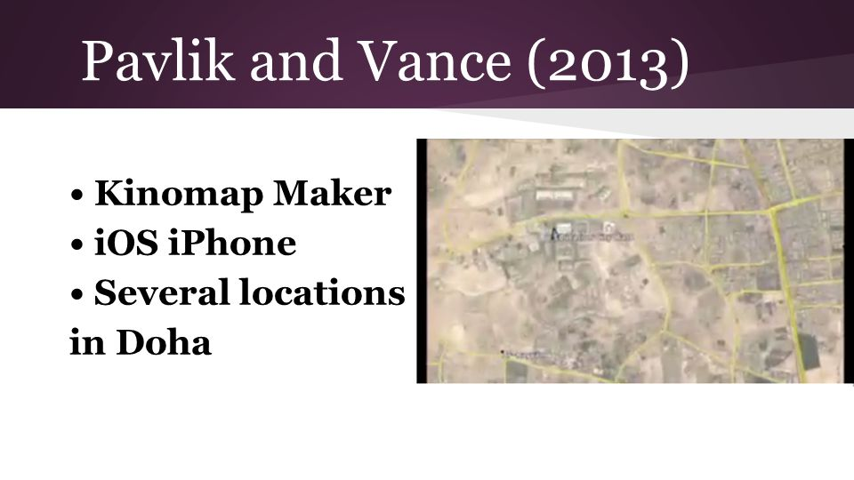 Pavlik and Vance (2013) Kinomap Maker iOS iPhone Several locations in Doha