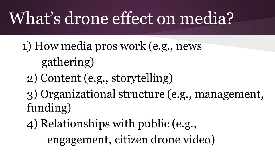 What's drone effect on media.