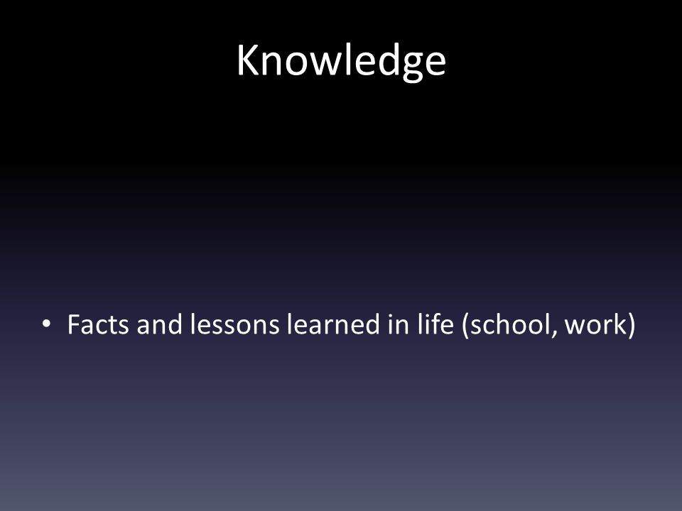 Knowledge Facts and lessons learned in life (school, work)