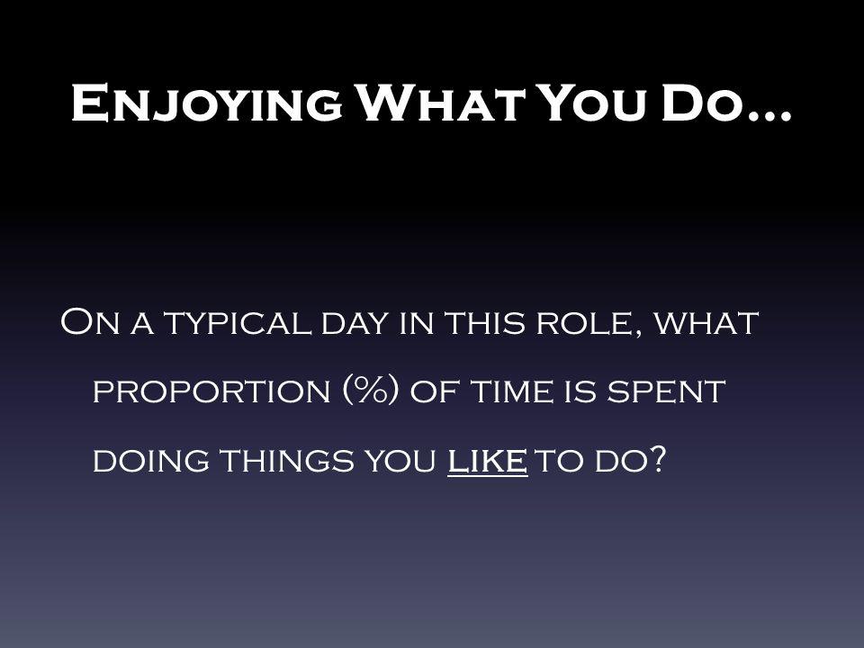 Enjoying What You Do …