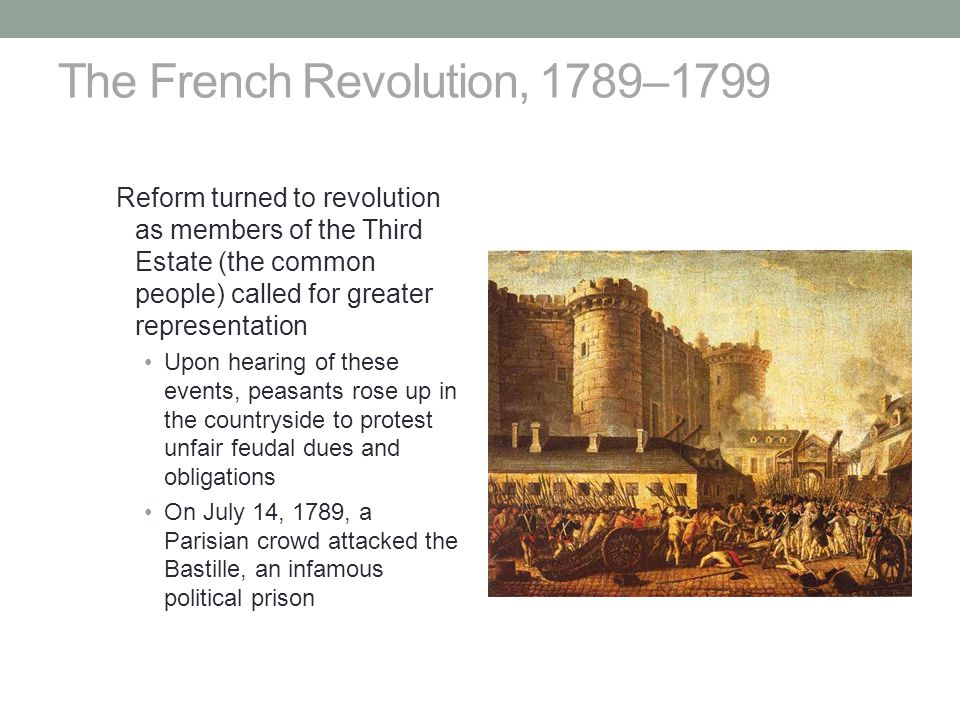 The French Revolution, 1789–1799 Reform turned to revolution as members of the Third Estate (the common people) called for greater representation Upon hearing of these events, peasants rose up in the countryside to protest unfair feudal dues and obligations On July 14, 1789, a Parisian crowd attacked the Bastille, an infamous political prison