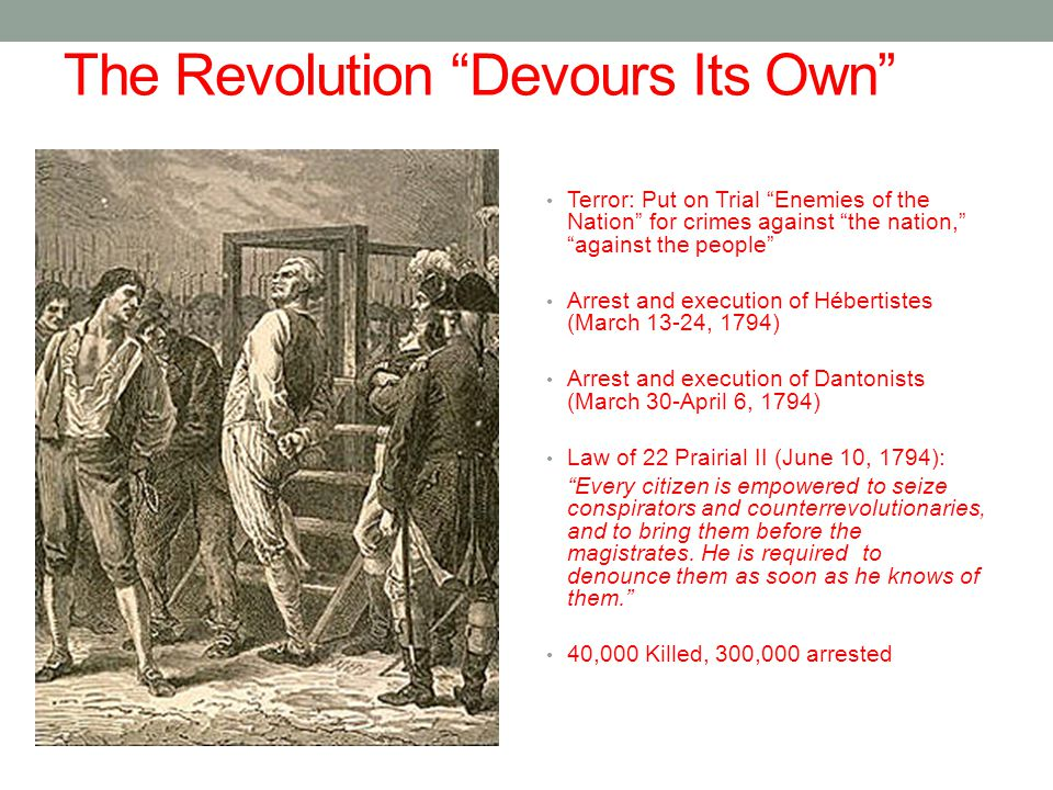 The Revolution Devours Its Own Terror: Put on Trial Enemies of the Nation for crimes against the nation, against the people Arrest and execution of Hébertistes (March 13-24, 1794) Arrest and execution of Dantonists (March 30-April 6, 1794) Law of 22 Prairial II (June 10, 1794): Every citizen is empowered to seize conspirators and counterrevolutionaries, and to bring them before the magistrates.